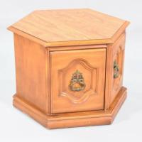 Midcentury Modern Hexagon Wooden End Table   Loveseat ...