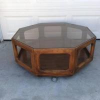 Mid Century Modern Octagon Glass Wood Coffee Table ...