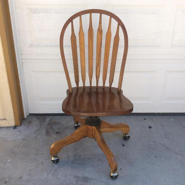 Classic Wooden Swivel Desk Chair on Wheels  Loveseat