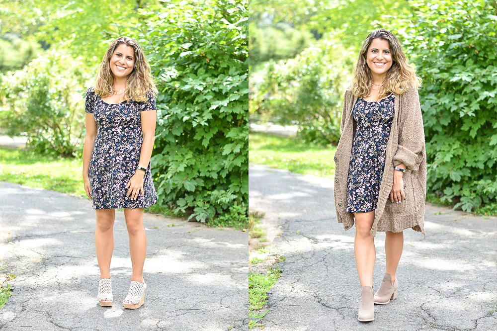 24beb4eaa7b7 The first fall transitional outfit is a floral dress. Floral dresses can  easily be transitioned from summer to fall. When the weather gets cooler