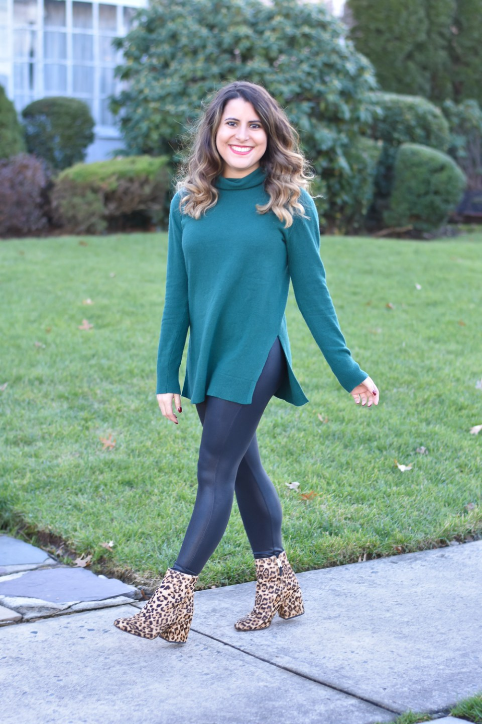 Spanx Faux Leather Leggings + Pop of Leopard