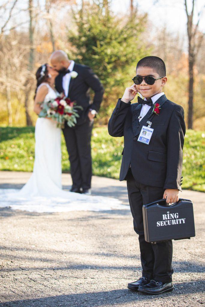 NJ Fall Wedding Bear Brook Valley Ring Security Ring Bearer