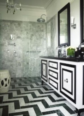 Elegant black herringbone tiles for your space 17