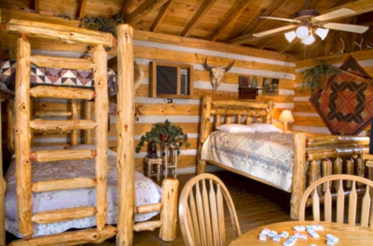 Creative log cabin themed bedroom for kids 04