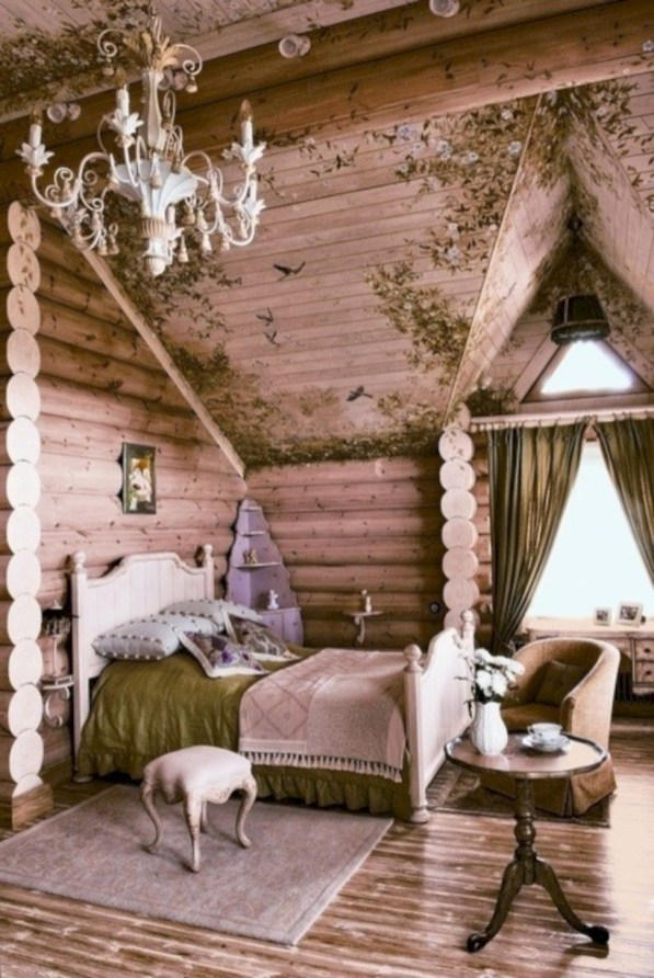Creative log cabin themed bedroom for kids 16