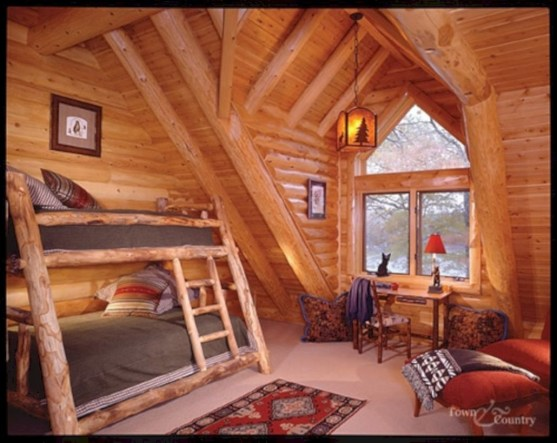 Creative log cabin themed bedroom for kids 22