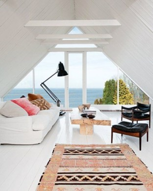 Vintage attic bedroom with wall of skylights16