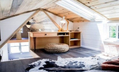 Vintage attic bedroom with wall of skylights49