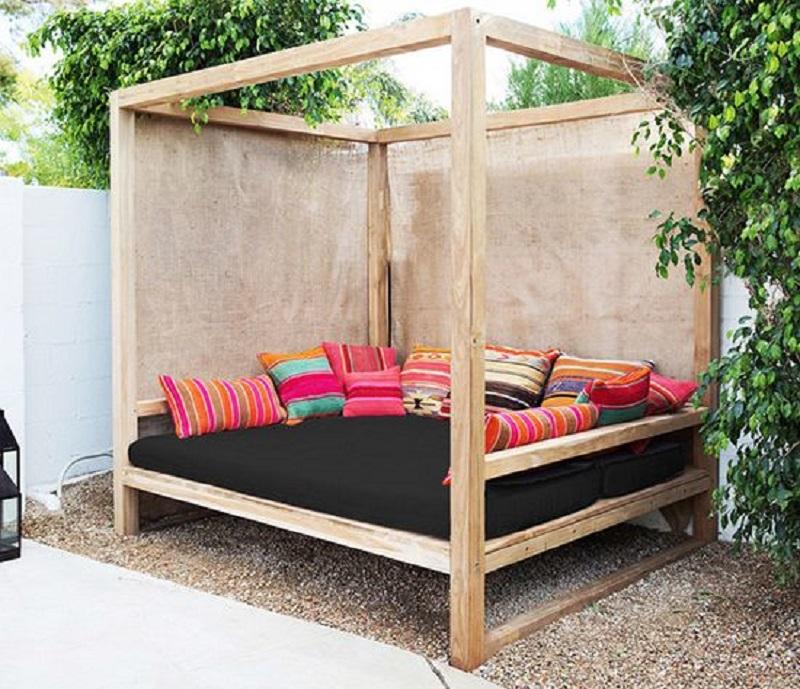 Wooden cabana longue