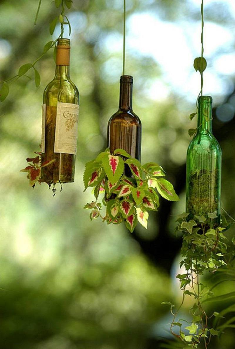 Wine bottle upside down planter