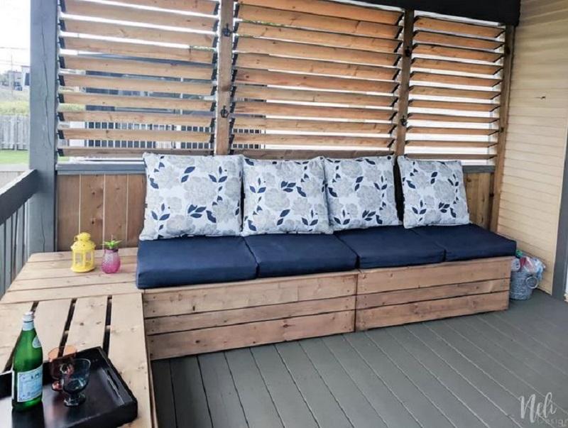 Bench with storage unit
