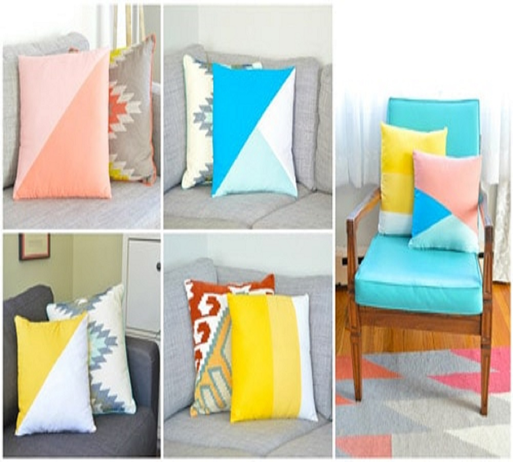 Color-block throw pillows Effortless DIY Sewing Projects To Create A Beautiful Effect To Your Home