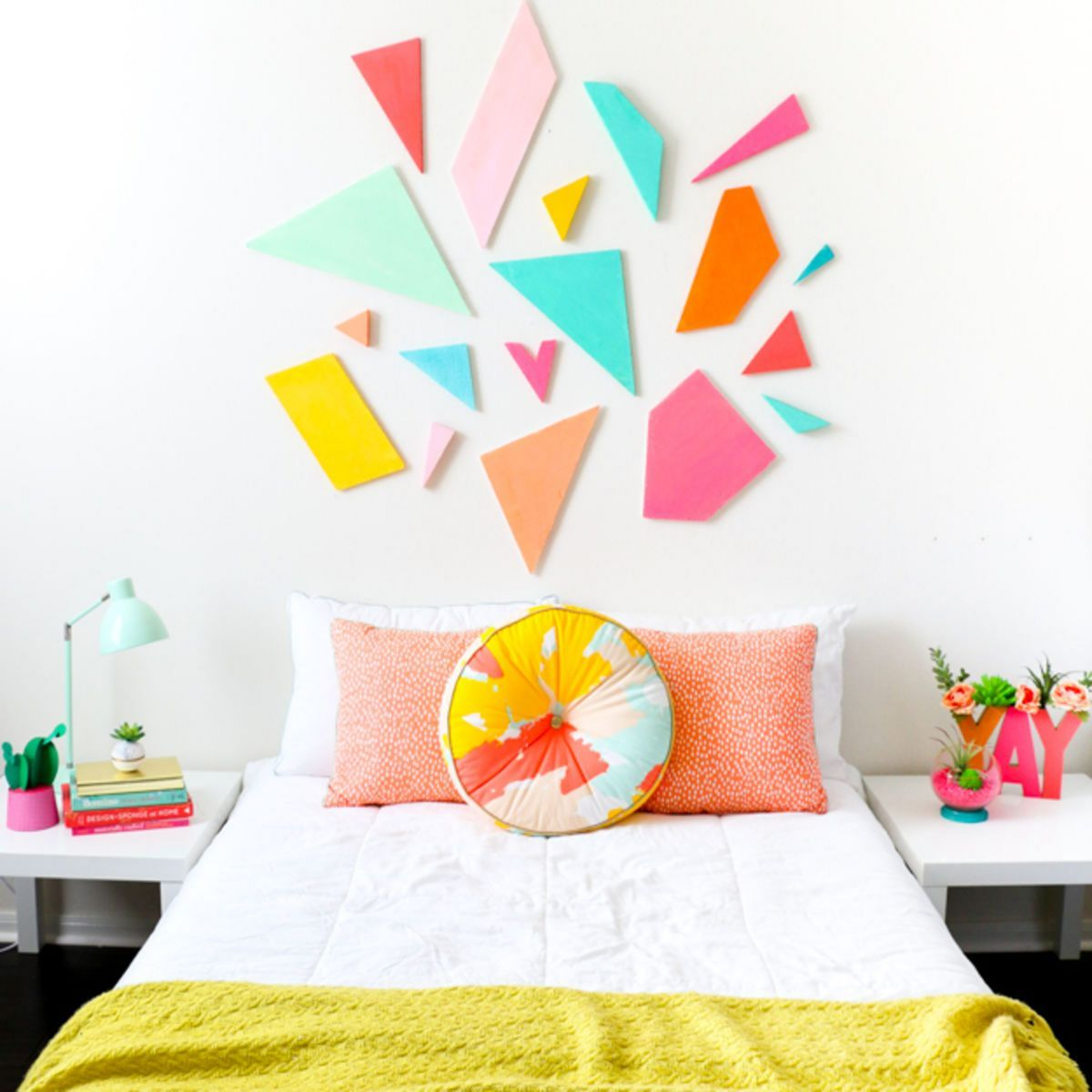 Colorful geometric headboard DIY Room Decoration Ideas Where Teens Can Do It In A Short Time