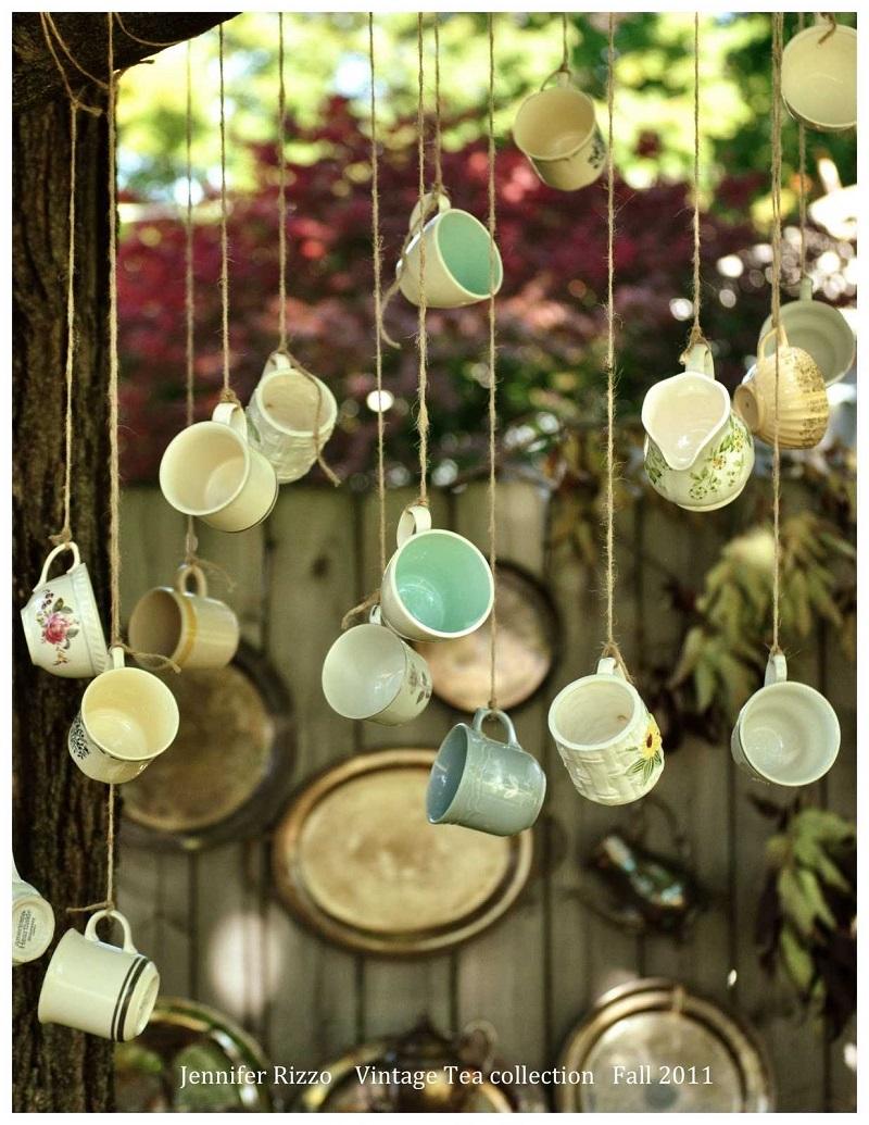 Diy hanging teacups decor