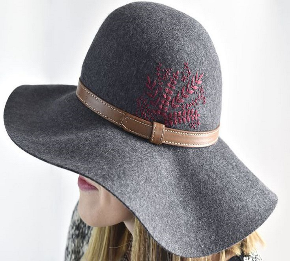 Embroider floral detailing on a felt hat DIY Hat Ideas That Requires Almost No Sewing And Precise Cuts Skill