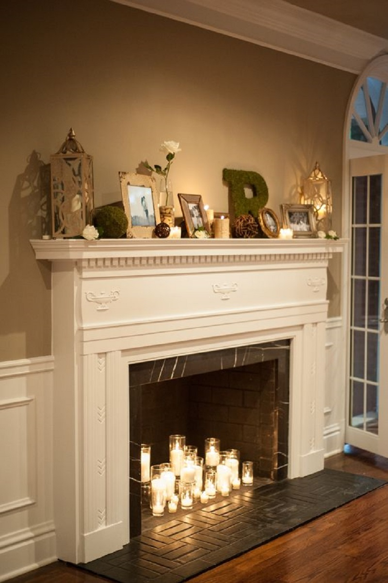 Fireplace with glass candleholders