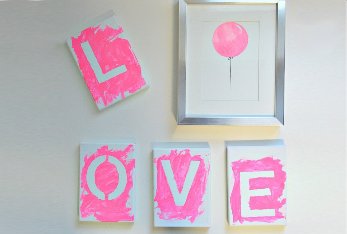 Kid-friendly love art Trouble-Free DIY Canvas Wall Art Ideas To Decorate Your Home