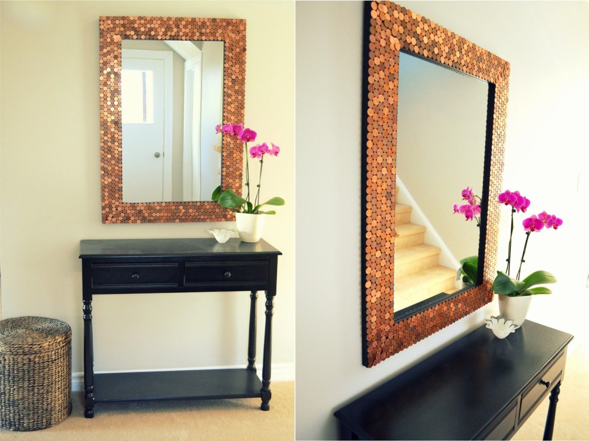 Penny tiled mirror Remarkable DIY Decoration Ideas You Can Make At Home With Pennies