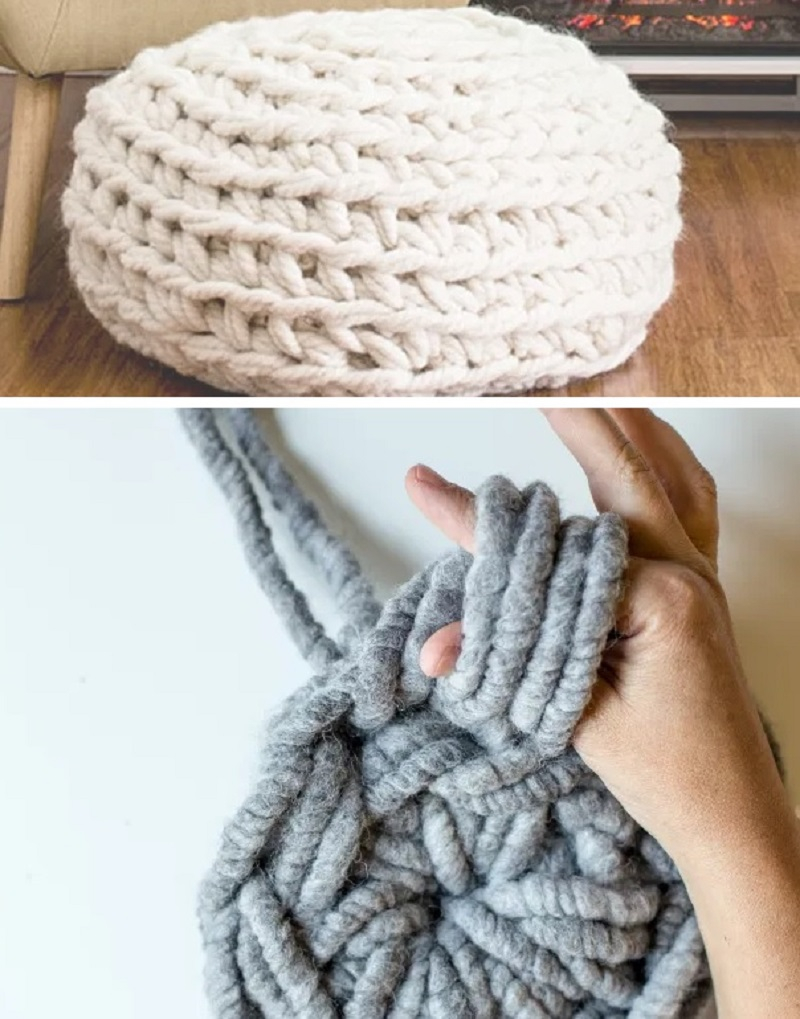 Super chunky pouf DIY Full Of Style Design Of Cozy Pouch That Is Unique And Versatile