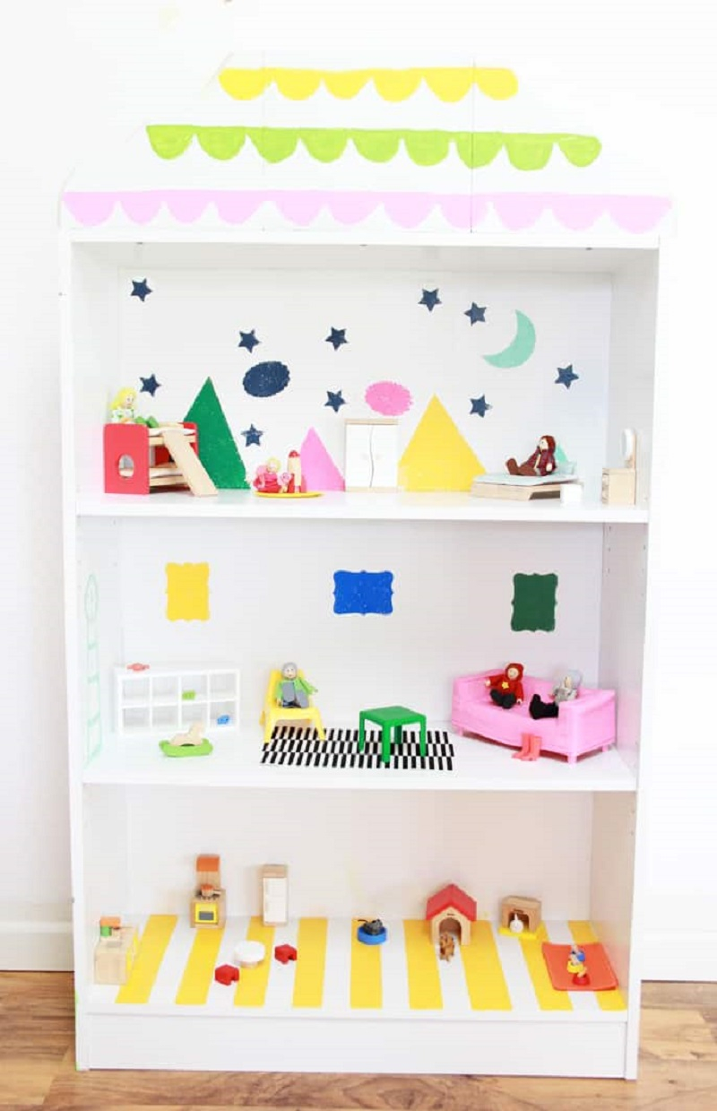 Diy bookcase dollhouse DIY Entertaining Ideas To Decorate Your Kids' Room For Special Feeling