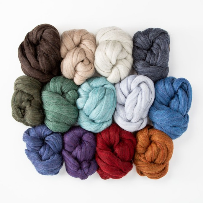 Wool of the Andes Roving for spinning in 13 different colors.
