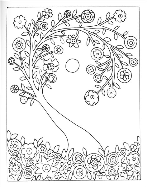 Fanciful Folk Art Coloring Book from KnitPicks.com
