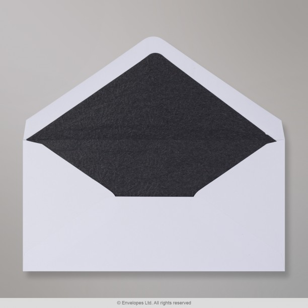 110x220 Mm DL White Envelope Lined With Black Fancy