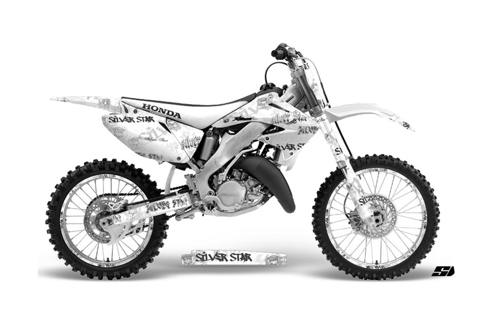 Honda CR125 Dirt Bike Graphics: Silver Star Silver Haze
