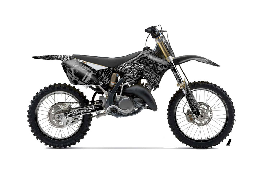 Suzuki RM 125 Dirt Bike Graphics: Skulls and Hammers