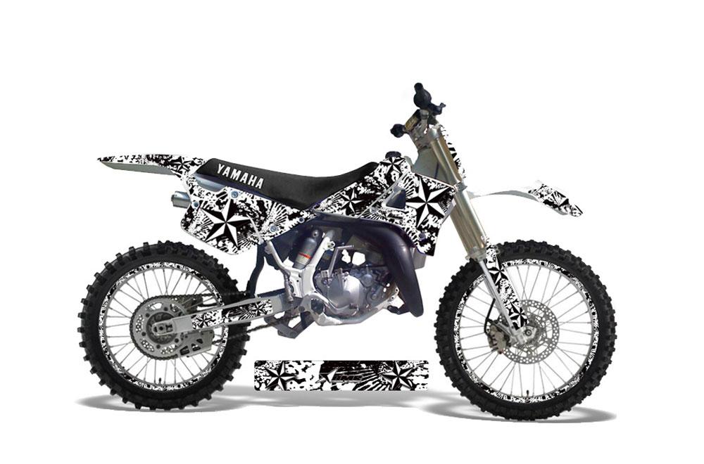 Blue And White Yamaha Dirt Bike