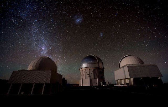 The Dark Energy Camera, mounted on the Victor M. Blanco Telescope (center), was one of at least six instruments that spotted the new bright light source from the neutron-star merger soon after it was detected by LIGO.