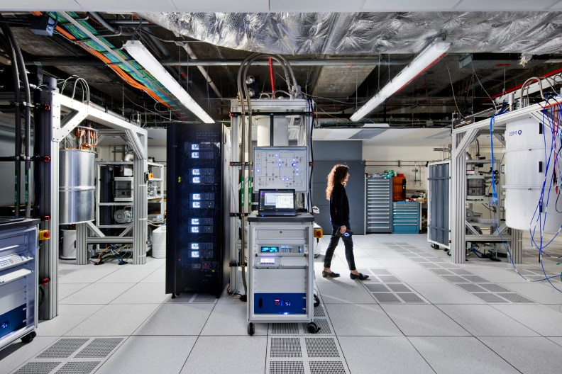 IBM's quantum computing center at the Thomas J. Watson Research Center in Yorktown Heights, New York, holds quantum computers in large cryogenic tanks (far right) that are cooled to a fraction of a degree above absolute zero.