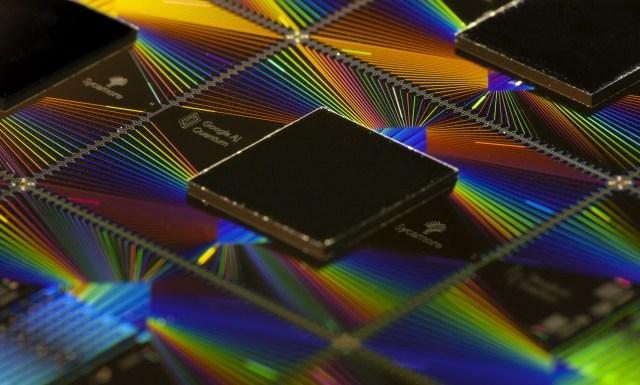 Close photo of Google's Sycamore quantum computer processor.