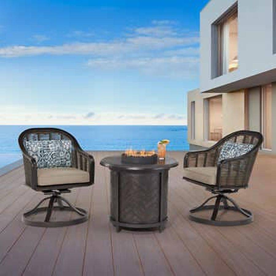 agio paris 3 piece fire chat patio set stock photo for reference only 24hr guarantee