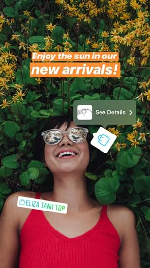 Shoppable Instagram Stories Stickers example
