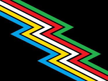 """[Image description: A black flag crossed diagonally from top left to bottom right by a """"lightning bolt"""" band divided into parallel stripes of five colors: light blue, yellow, white, red, and green. There are narrow bands of black between the colors. Description ends] from creator Ann Magill"""