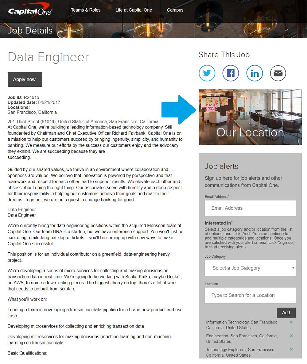 Capital One Job Description With Location Widget