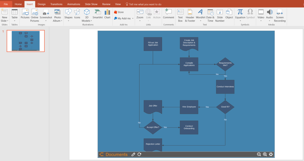 medium resolution of select your flowchart from your documents to insert into powerpoint