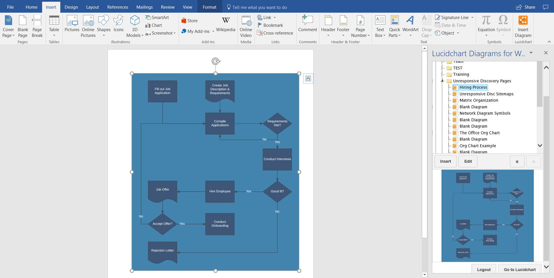 hight resolution of select your flowchart from your documents to insert into your word document you can build intricate flowcharts