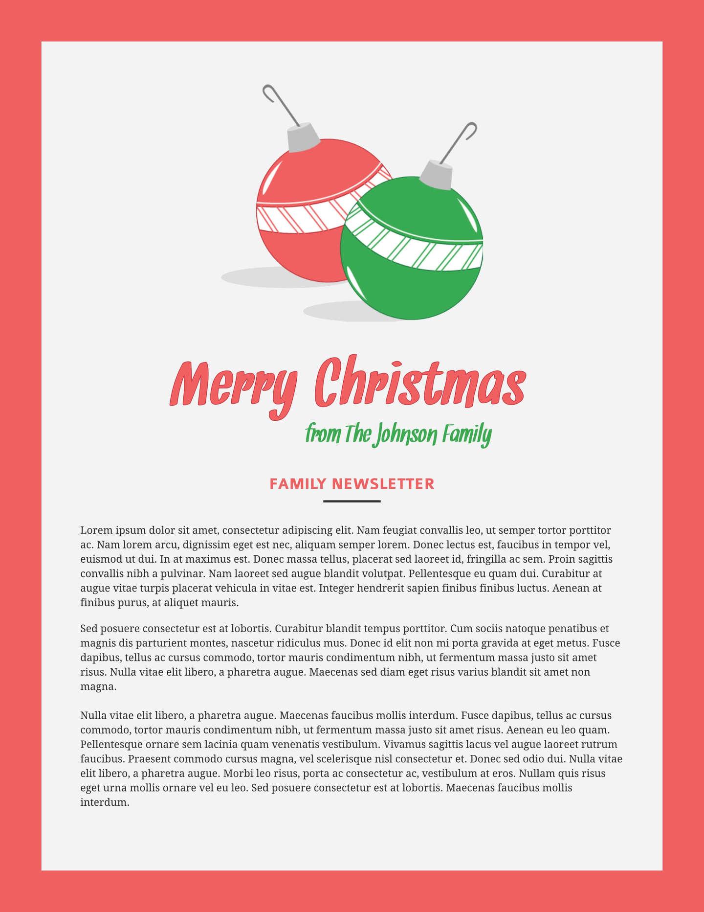 free printable christmas newsletter templates