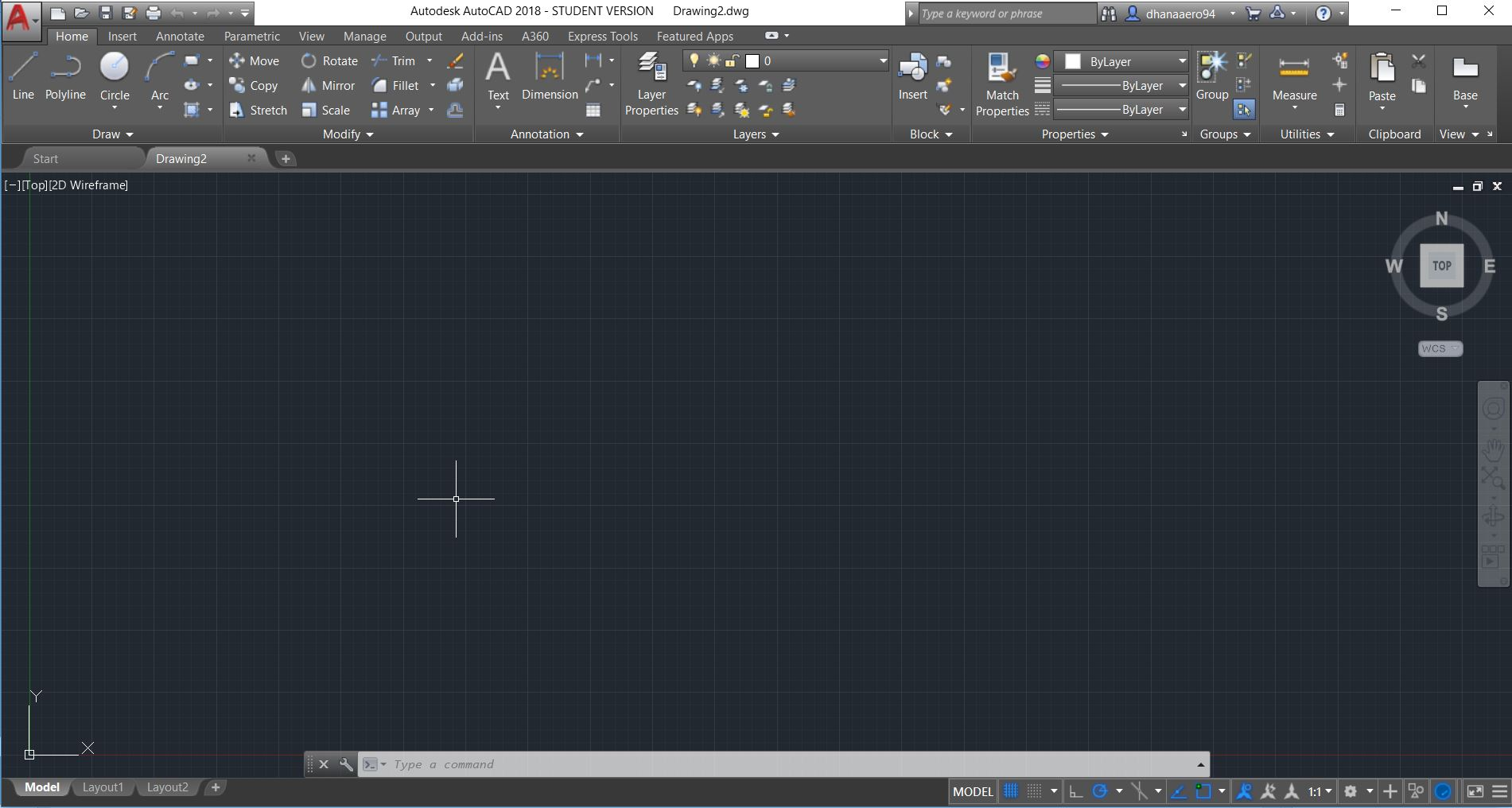 hight resolution of autocad gui contains ribbon tabs and command prompt to utilise the tools