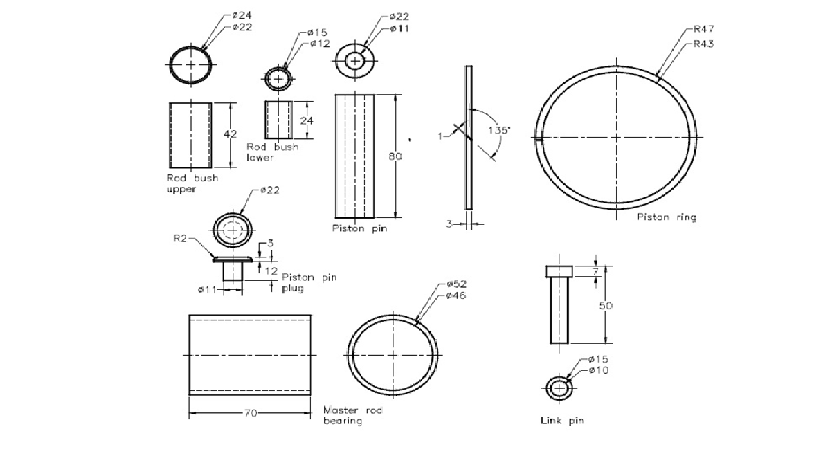 hight resolution of top bush button and alt bush bush button piston plug pin piston pin connecting pin main lever bearing connecting pin