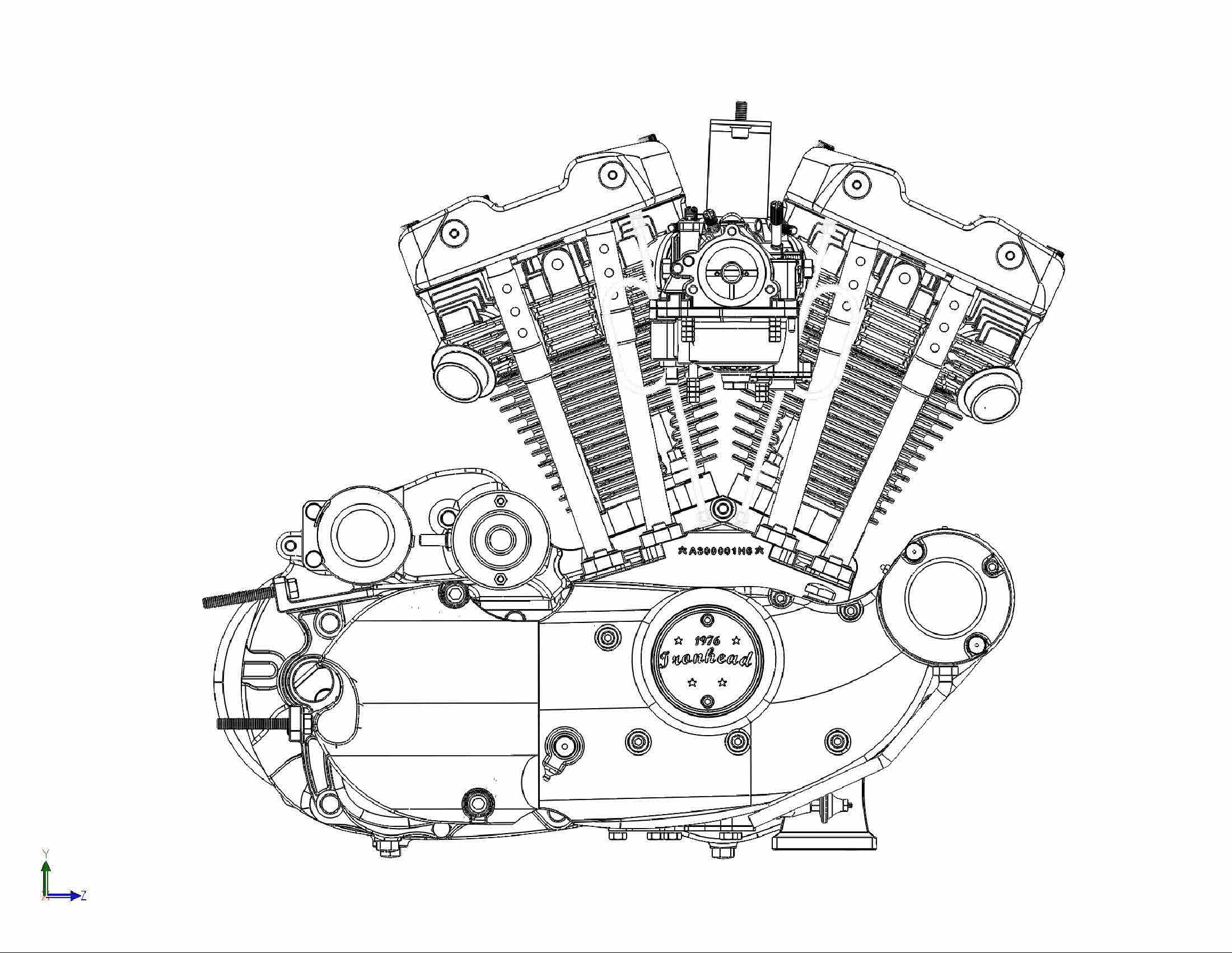 Harley Motorcycle Engine Drawing Sketch Coloring Page