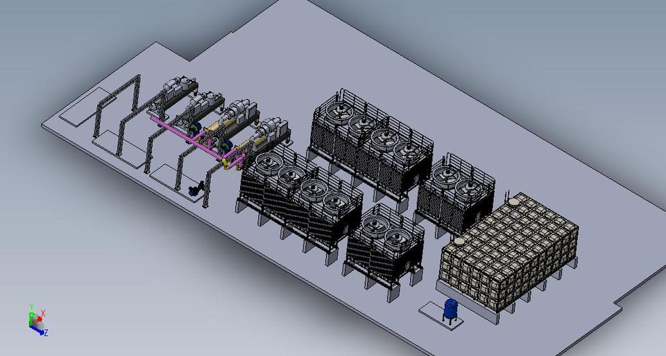 Chiller  Cooling tower Assembly  3D CAD Model Library