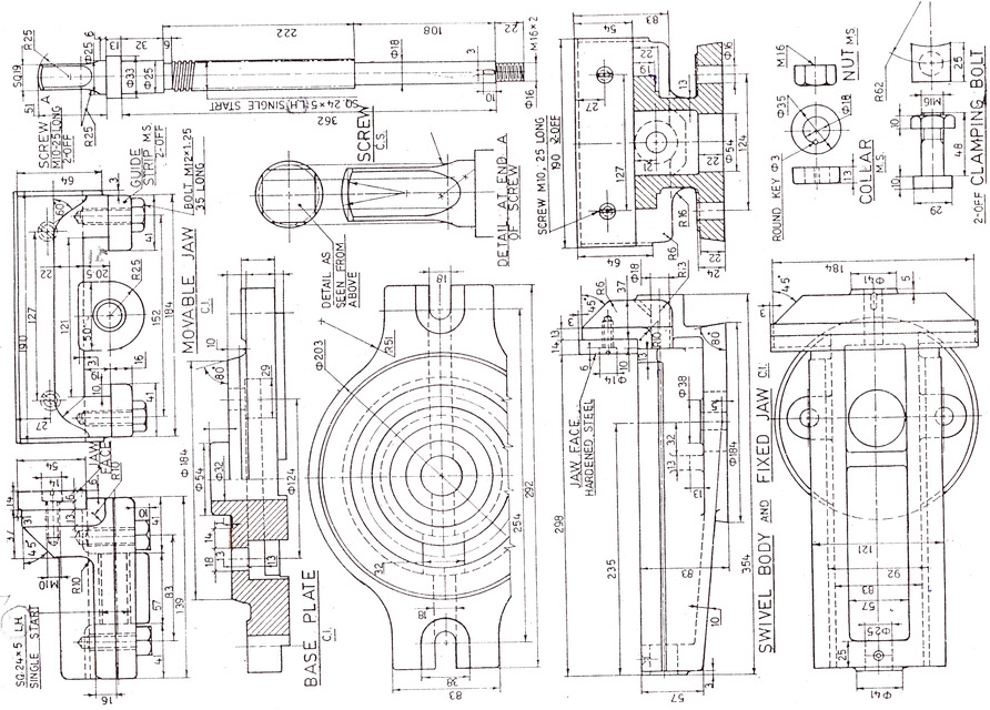 Assembly Drawing Of Machine Vice