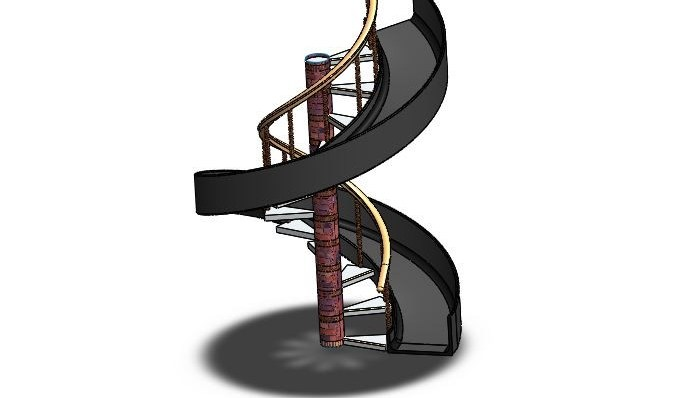 Spiral Stairs With Slide Swing 3D Cad Model Library Grabcad | Spiral Staircase With Slide | Modern | 1930'S | Interior | Cool | Stainless Steel Spiral