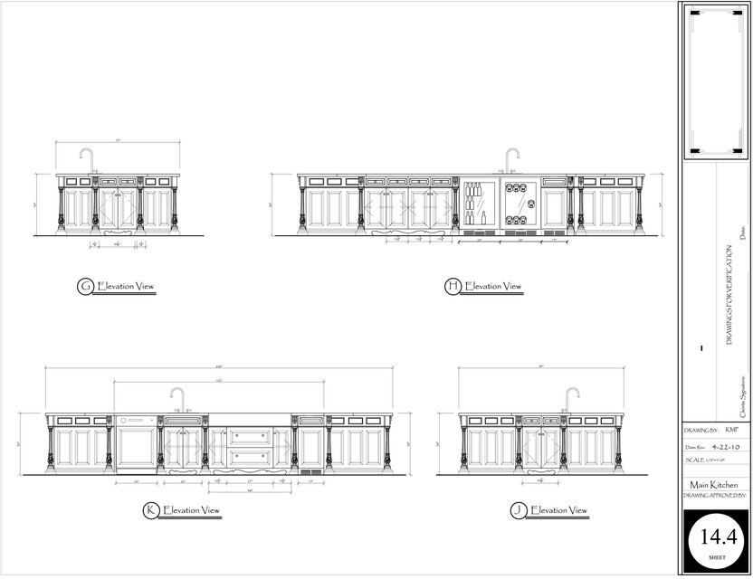 Main Kitchen Floor Plan And Elevations