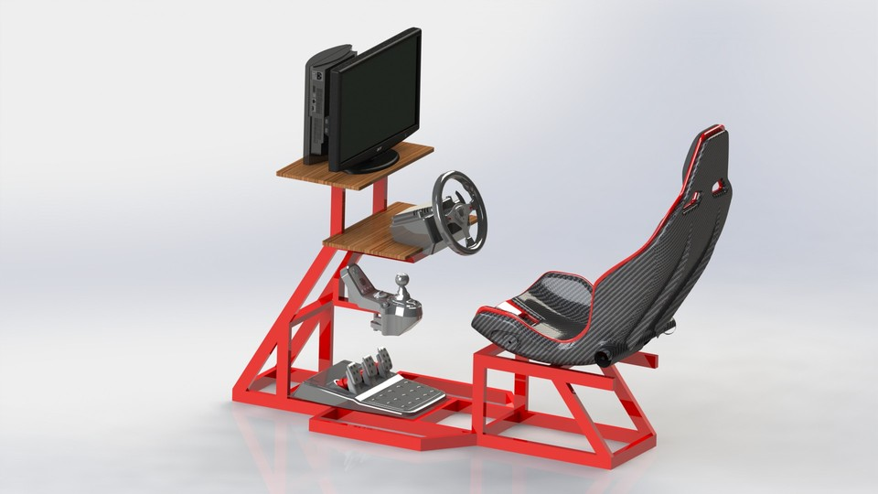 racing simulator chair plans wicker dining chairs pier one diy 3d cad model library grabcad