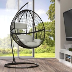 Hanging Chair Frame Modern High Back Dining Chairs Garden Swing With Standing 43 Cushions Poly
