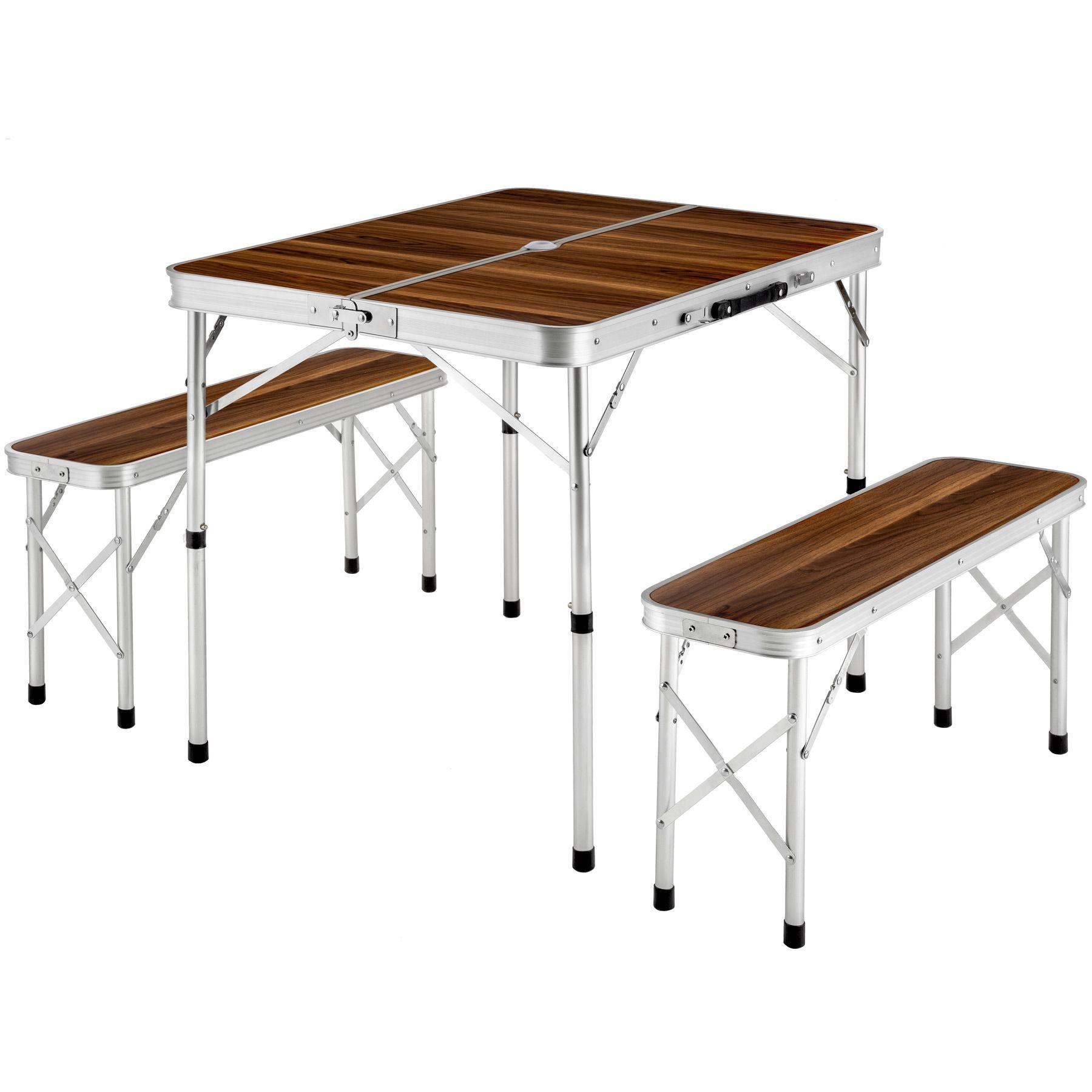 details sur ensemble table pliante valise avec 2 bancs camping aluminium pique nique jardin